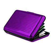 Zhi Jin Aluminum Business Card Holder Wallet Credit ID Name Cards Organizer Display for Women Men Travel 6 Card Slots Purple