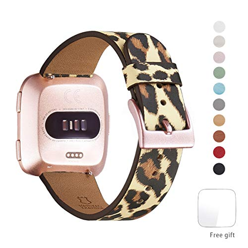 WFEAGL for Fitbit Versa Band, Top Grain Leather Band Replacement Strap for Fitbit Versa Fitness Smart Watch (Leopard Band+Rose Gold Buckle)