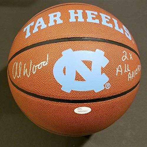 (Unc Tar Heels Al Wood Autographed Signed Memorabilia Logo Ball With Inscription And - JSA Authentic)