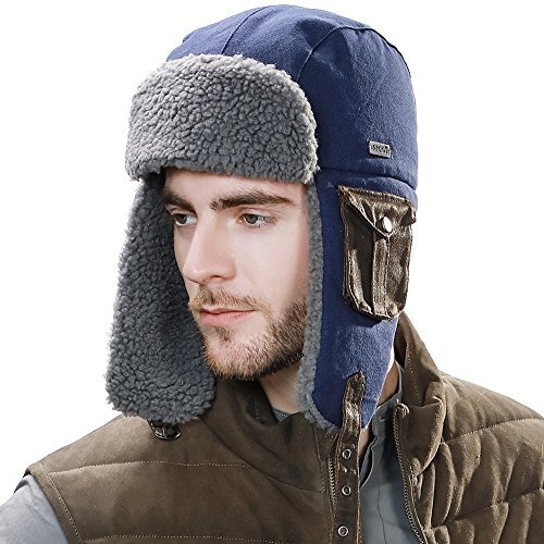 ux Fur Aviator Hat with Ear Flaps for Men Russian Winter Hat Hunting L XL Cotton ()