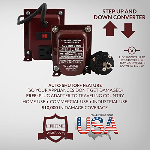 ACUPWR AUD-200 200-Watt 110-120 volts to 220-240 Volts (and vice-versa) to Step Down/Step Up Voltage Transformer/ Converter Ideal for Samsung LED TVs, xBox 360, Playstation, iMac, iPad, phone and camera chargers, Bose Lifestyle sound systems, Vornado fans by AcuPwr TM