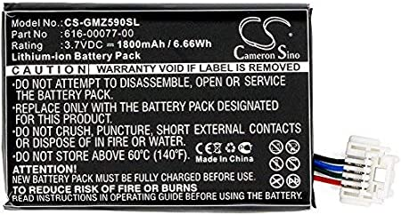 361-00077-00,Fits Garmin Zumo 590 Zumo 590LM Zumo 595 Cameron Sino Li-ion 3.70V 1800mAh//6.66Wh Battery Compatible with Garmin 010-12110-003 361-00077-10 616-00077-00 616-00077-10