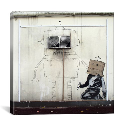 iCanvasART BNK30 Cardboard Box Boy and Robot by Banksy Canvas Print, 12-Inch by 12-Inch, 0.75-Inch Deep