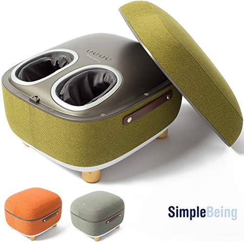 Latest Foot Massager Simple Being Foot Massager Electric Ottoman Storage Removable Heating Lid, Shiatsu Therapy with Heat, Air Pressure, Vibration, Fits feet up to Men Size 14 (Green) 2019