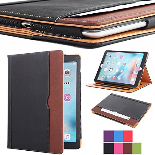 5th Black Leather (I4UCase Apple iPad 9.7 Inch 2017 (5th Generation) Case - Soft Leather Stand Folio Case Cover for iPad 9.7 Inch 2017, with Multiple Viewing angles, Auto Sleep/Wake, Document Card Pocket (Black + Brown))