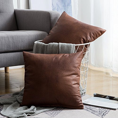 (MIULEE Pack of 2 Decorative Faux Leather Modern Pillow Cover Square Luxury Cushion Case Durable Throw Pillow Cover Shell for Couch Sofa Bed Living Room 18x18 Inch Brown)