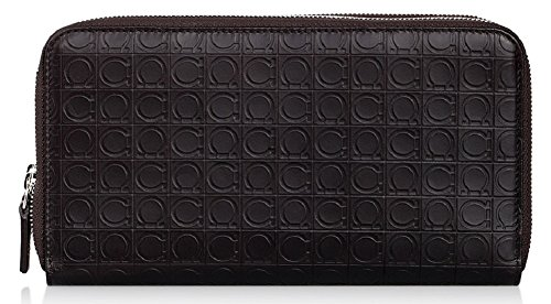Salvatore Ferragamo Large Gancio Embossed Travel Wallet (One Size, Dark Brown) by Salvatore Ferragamo