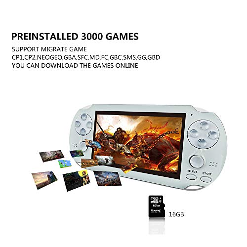 BAORUITENG Handheld Game Console , Retro Game Console with 3000 Classic Games 4.3'' 64 Bit Portable Game Console Support / Camera GBA / GBC / SEGA / NES / SFC / NEOGEO and Loss-Less Music (White) by BAORUITENG (Image #3)