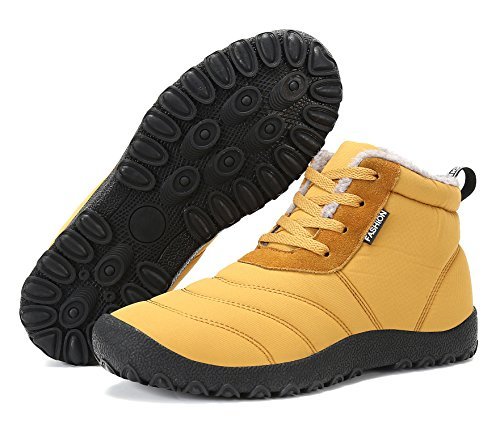 Mens Womens Snow Boots Lace Up Fashion Warm Winter Shoes Waterproof Anti-Slip Ankle Bootie Outdoor Sneaker Tan x6h59Jzjig