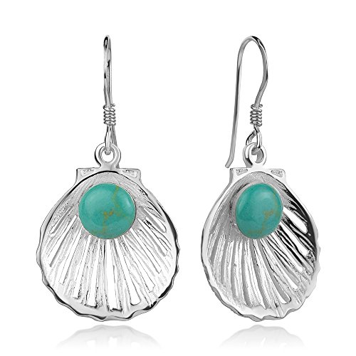 925 Sterling Silver Blue Turquoise Seashell Pearl Shell Clam Dangle Hook Earrings 1.5""
