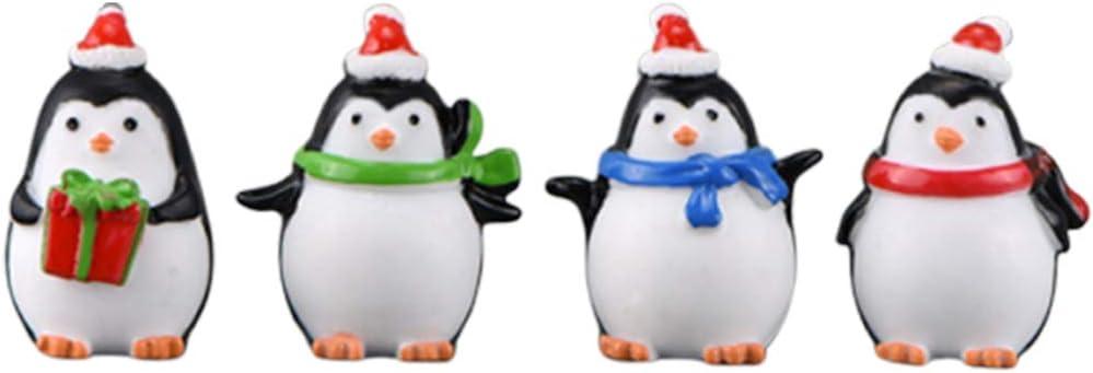 Heallily 4pcs Christmas Penguin Figurine Resin Miniature Penguins Figure Keychain Pendant DIY Crafts Micro Landscape Fairy Garden Dollhouse Table Ornament