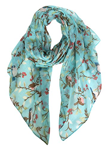 - GERINLY Spring Lightweight Floral Birds Print Shawl Wraps Dress Scarf Belt (Turquoise)