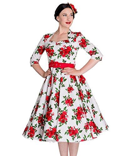 36 50er Weiß mit Jahre Kleid Vintage Tiger Milly Hell Bunny Weiß Blumenmuster ftxqnP1A