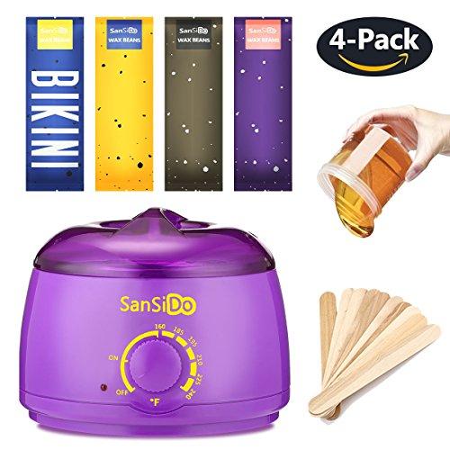 Price comparison product image Sansido Wax Warmer Waxing Hair Removal Kit +4 Bags of Hard Wax Beans + 10 Wax Applicator Sticks