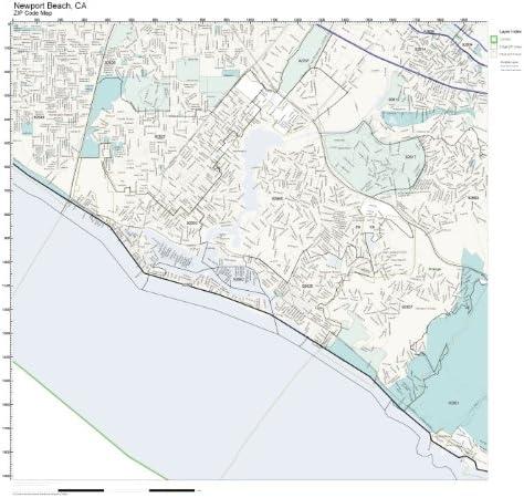 Amazon Com Zip Code Wall Map Of Newport Beach Ca Zip Code Map