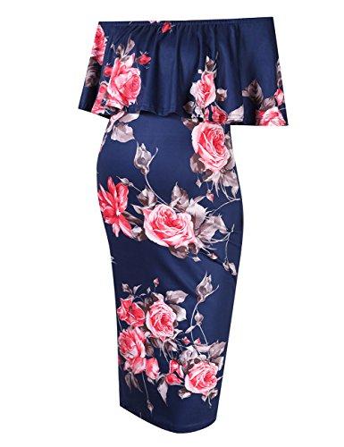 MissQee Womens Maternity Dress Off Shoulder Casual Maxi Dress