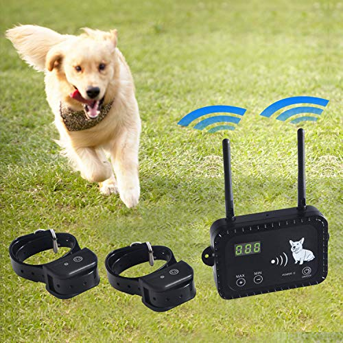 (JIEYUAN Wireless Dog Fence Pet Containment System, Safe Effective Vibrate/Shock Dog Fence, Adjustable Range Up to 900 Feet & Display Distance, Rechargeable Waterproof Collar (2 Dog System))