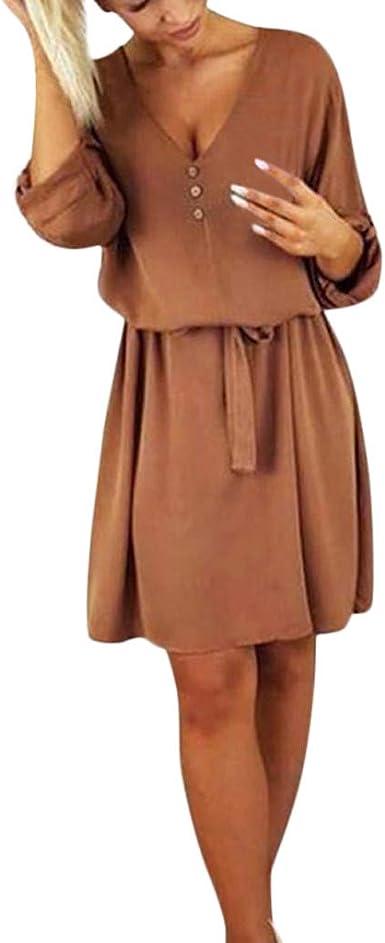 Caoqao Femme Cache Coeur Manches Robe Mousseline De Soie Casual Printemps Ete Chic Pour Robe Avec Ceinture Bouton De Plage Amazon Fr Animalerie