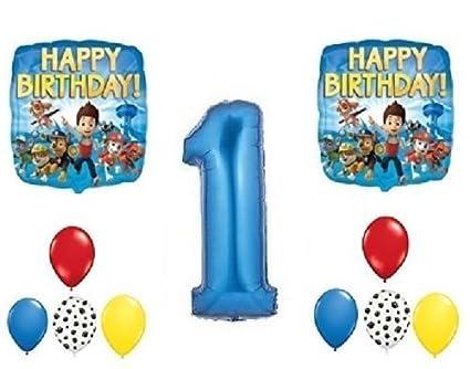 Amazon.com: loonballoon Paw Patrol Chase perro 1er # 1 Azul ...