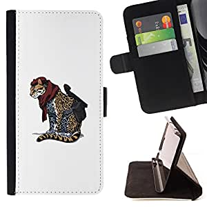 KingStore / Leather Etui en cuir / Apple Iphone 5C / Cheetah Warrior - Cool Cat Cute Funny Animal