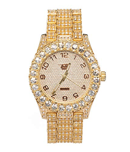 - Mens Classic Iced Out Bezel Gold Watch with Simulated Lab Diamonds Analog Display - Gold
