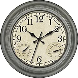 Ashton Sutton Indoor and Outdoor Wall Clock with Galvanized Finish Case