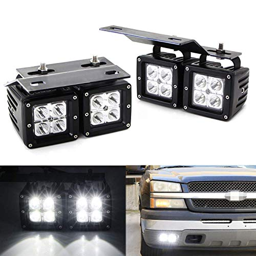iJDMTOY Dual LED Pod Fog Lamp Kit For 2002-06 Chevy Avalanche, 03-07 Silverado 2500 3500, Includes (4) 20W High Power CREE LED Cubes, Foglight Location Mounting Brackets & On/Off Switch Wiring Kit