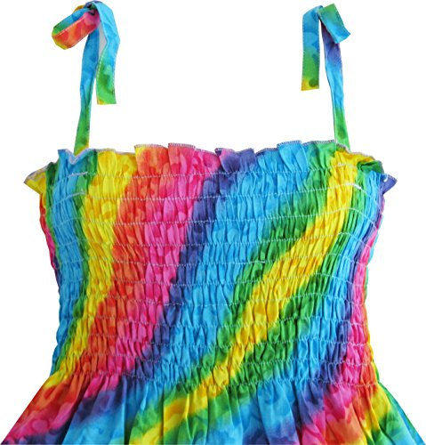 Dimensioni 2 Arcobaleno Modo Sole Di Anni Abbigliamento 10 Capestro colore Di Multi Ragazze Per Bambini Vestono Smocked 5qC78Cx