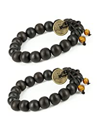 LUOS Feng Shui Coin with 2 Tiger Eye Bead- Good For Prosperity And Success Tibetan Buddha Prayer Mala Black Wood Bracelet - w026