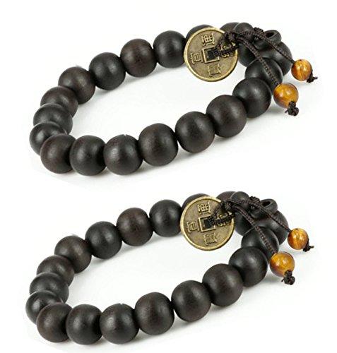Bracelet Coin Chinese (Feng Shui Coin with 2 tiger eye stone Tibetan Buddha Prayer Mala Black Wood Bracelet - W026 - 2 pcs)
