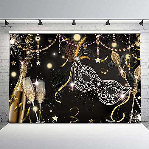 Mehofoto Masquerade Party Backdrop Retro Mask Birthday Photo Background 7x5ft Black Mask Champagne Glass Firework Feather Magic Wand Backdrops for Birthday Dance ()