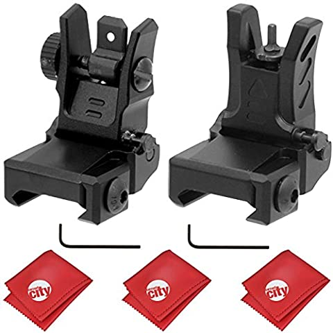 UTG Dual Aiming Aperture Low Profile Flip-up Front + Rear Sight Kit (MNT-755 & MNT-955) (Ar 15 Mini Red Dot)
