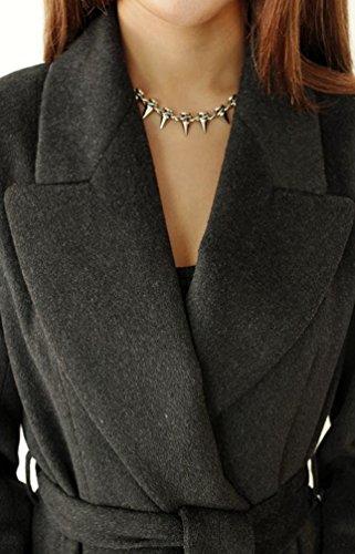 Manteau Veste Longues Unie Noir Taille Chaud Femme Wanyang Grande Couleur Élégant Femmes A De Manches AxtwqOvw1