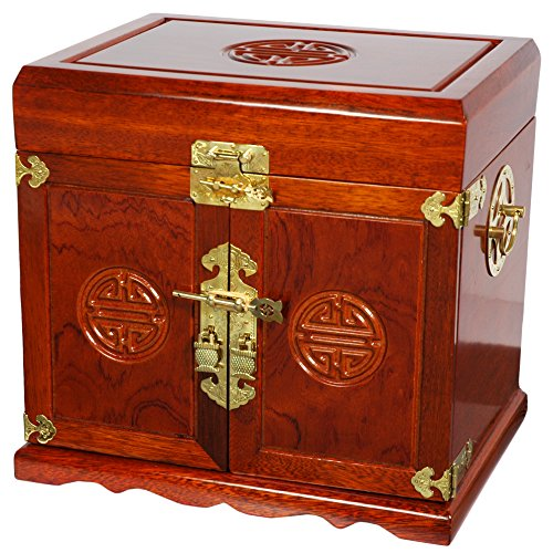 (Oriental Furniture Rosewood Jewelry Cabinet with 5 Drawers - Honey)