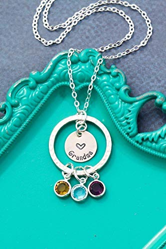 Personalized Eternity Necklace - DII ABC - Grandma Gift - Children Grandkids - Handstamped Handmade Jewelry-1 1/2 Inch 25.4 12MM Discs-Choose Birthstone Colors-Customize Nameplate ()