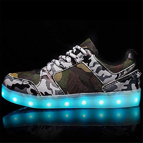 5f78d7581 ... DoGeek Zapatos Led Niños Niñas Negras Blanco 7 Color USB Carga LED  Zapatillas Luces Luminosos Zapatillas