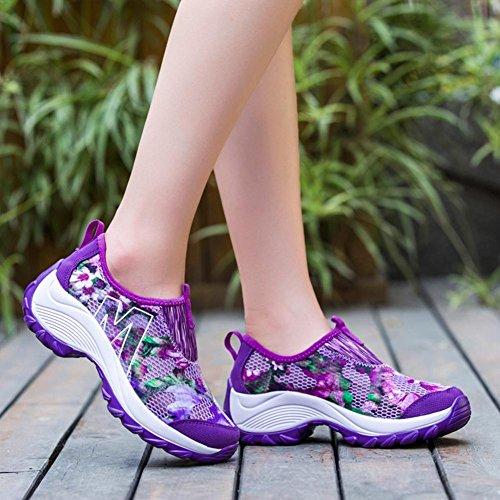 Zapatillas Purple de Malla Deporte Deportivas Ocasionales Respirables de de Suetar para Zapatillas Mujer de Ligera Verano Moda 1FSHH