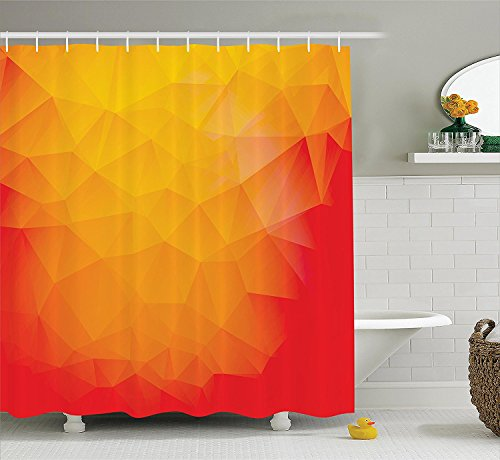 [Abstract Home Decor Collection Triangle Shapes Artwork Lighting Celebrating Chick Vibrant Color Cheerful Image Polyester Fabric Bathroom Shower Curtain Set with Hooks Orange] (Chick Magnet Costume Walmart)