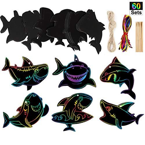 60 Set Shark Scratch Rainbow Tags Magic Scratch Rainbow Paper for Shark Birthday Party Supplies]()