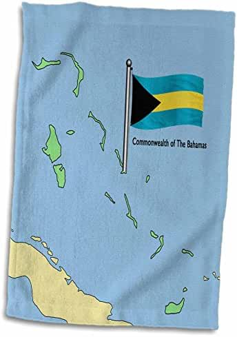 3dRose 777images Flags and Maps - North America - The map and flag of the Commonwealth of the Bahamas - 12x18 Hand Towel (twl_55492_1)