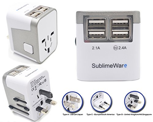International Power Adapter 4 Port USB Wall Charger 3500mA USB Charge Ports Type I , Type C , Type G , Type A EU US UK CHINA World Travel Adapter - Best Universal Adapter Plug (Silver) By SublimeWare