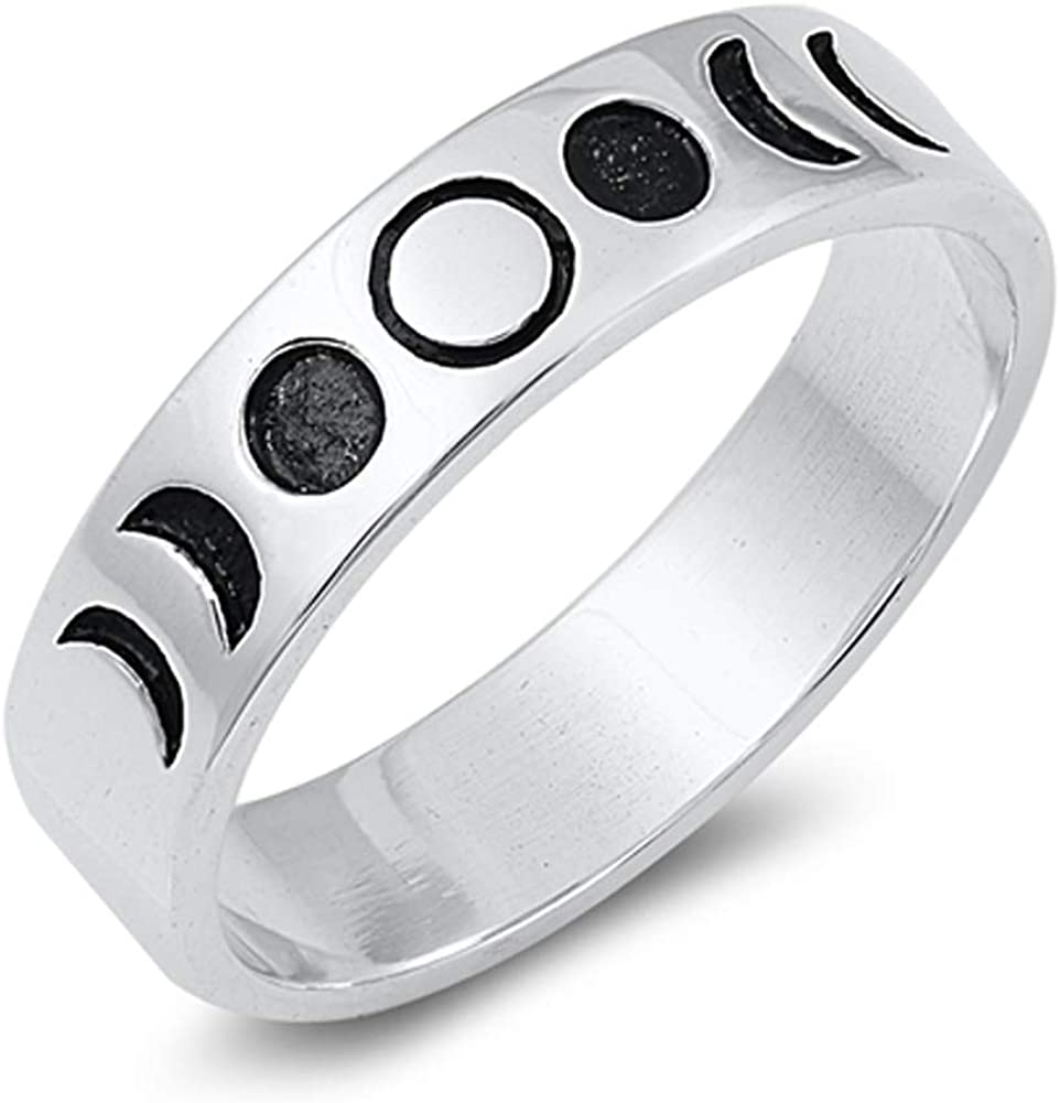 Lunar Moon Phases Science Space Nature Ring .925 Sterling Silver Band Sizes 4-10