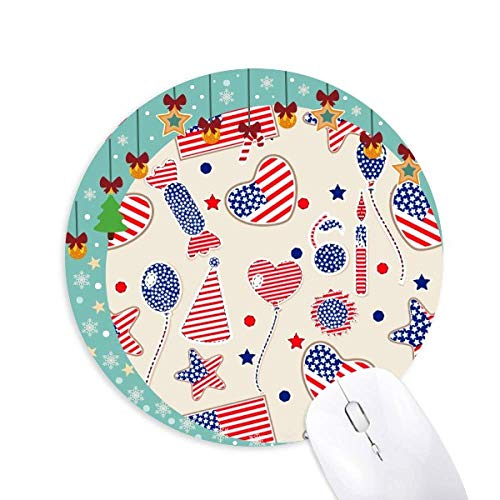 (USA Balloon Candy Heart Flag Star Festival Mouse Pad Jingling Bell Round Rubber Mat )