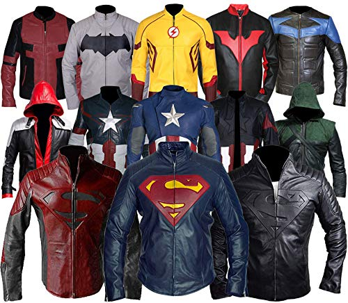Mens Bat Logo Arkham Knight Jason Todd Red Hood Robin Biker Costume PU Leather Jacket