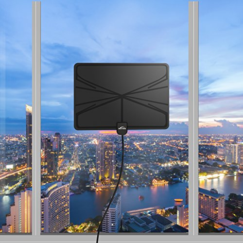 [2018 Newest] HD Digital TV Antenna, 60+ Miles Amplified Indoor TV Antenna – Support 4K 1080p with Amplifier Signal Booster & Power Adapter Black by BESTHING (Image #4)