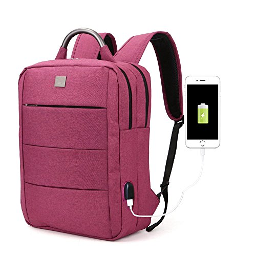 Laptop Backpack for Women - Business Womens Bag for Notebook Up to 15.6 Inch - Water-Resistant Notebook Travel Backpack - Wideep Red