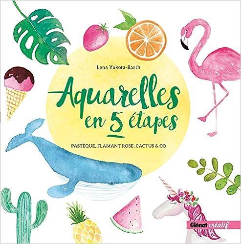 Book's Cover of Aquarelles en 5 étapes: Pastèque, flamant rose, cactus & co (Français) Relié – 10 octobre 2018
