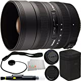 Sigma 8-16mm f/4.5-5.6 DC HSM Ultra-Wide Zoom Lens for Select Nikon EOS SLRs 7PC Accessory Kit. Includes Manufacturer Accessories + Lens Pen + Cap Keeper + Microfiber Cleaning Cloth