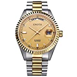 GNOTH Men's Two Tone Automatic Stainless Steel Gold Watch with Sapphire Crystal Day Date