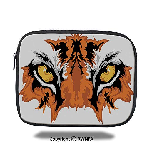 Laptop Sleeve Case,Tiger Eyes Graphic Mascot Animal Face Bengal Cat African Safari Predator Theme Decorative,10.8